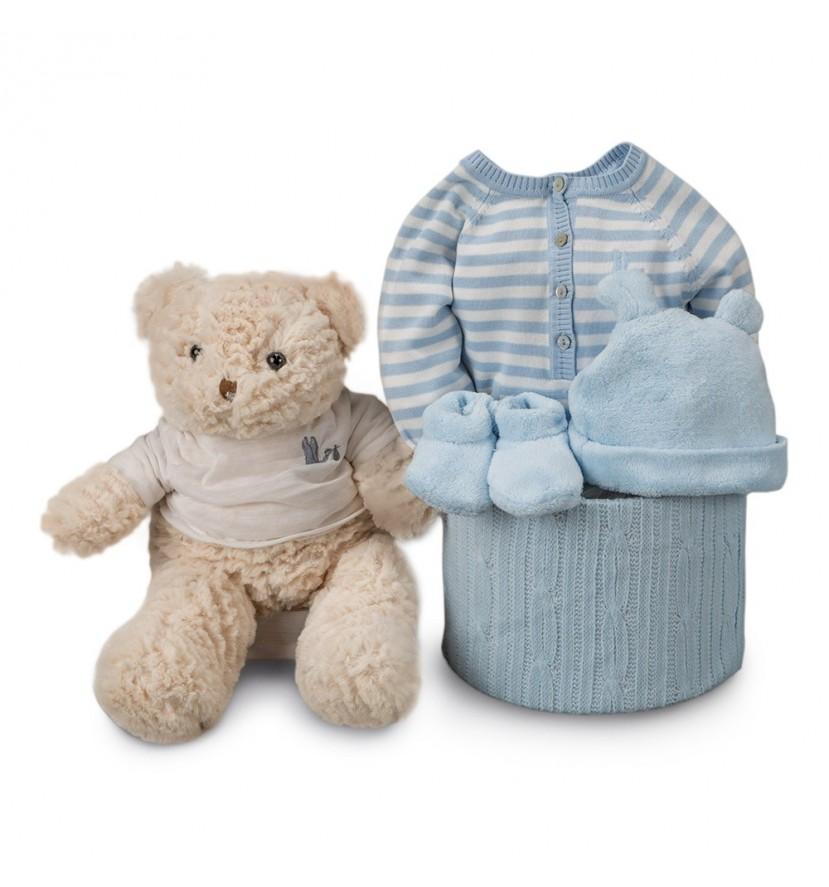 Blue Stripes Soft Essential Baby Hamper