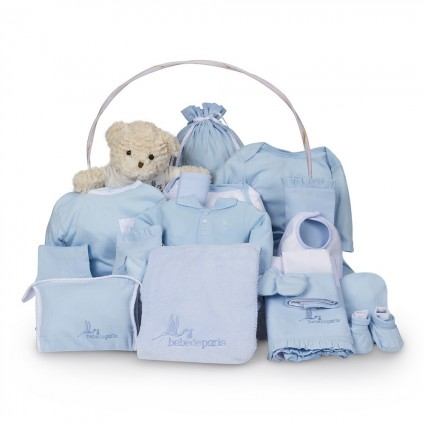 Classic Deluxe Baby Gift Basket Blue