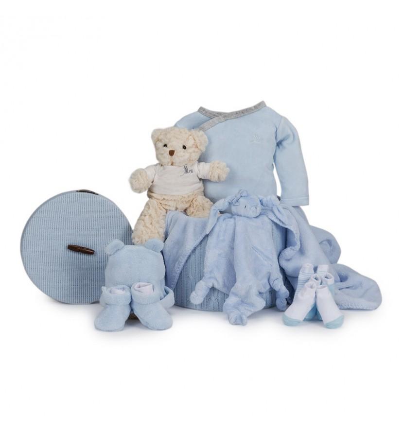 Velour Essential Baby Gift Basket Blue