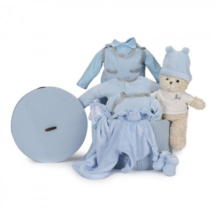 Velour Complete Baby Gift Basket Blue