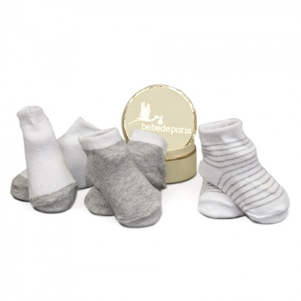 Grey Baby First Socks Gift Set