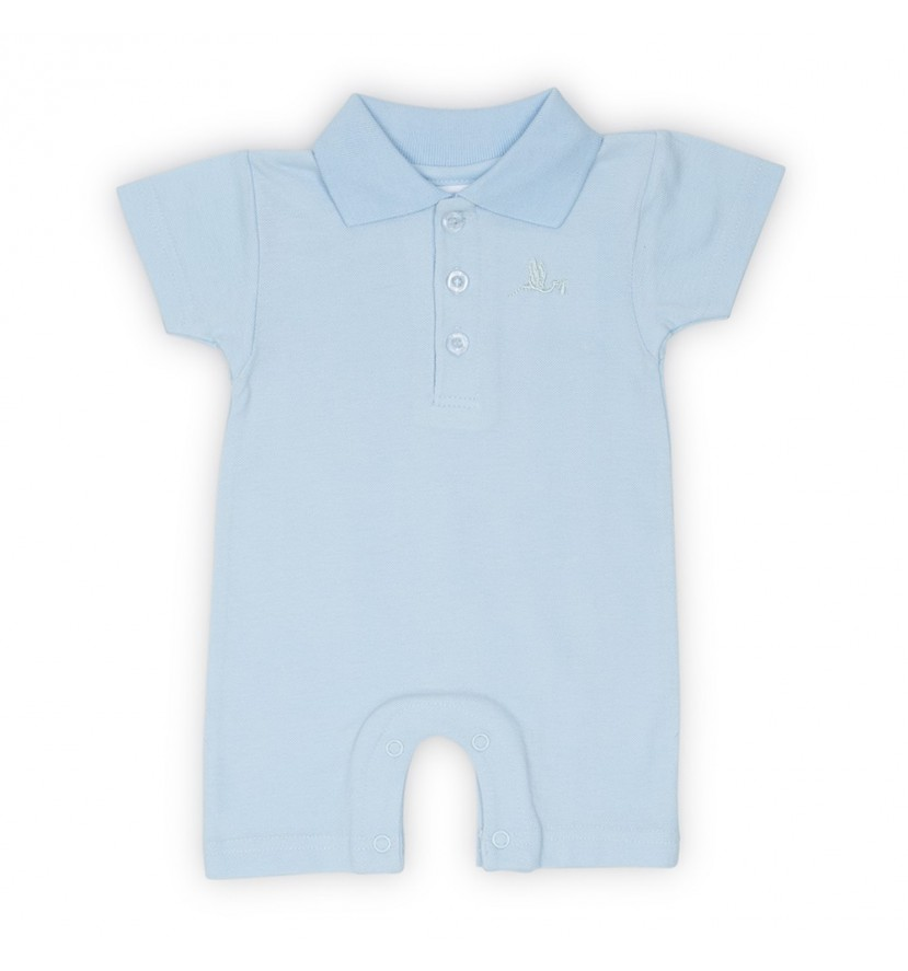 Baby Polo Bodysuit Short Sleeve Blue