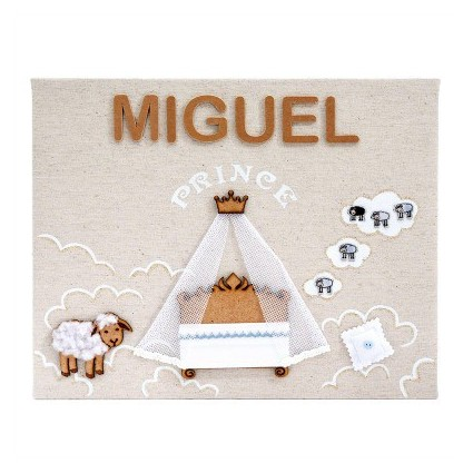 Personalised Baby Name Frame (Lamb, Prince)