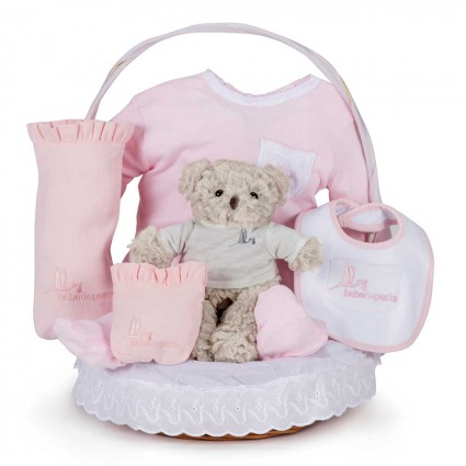 Classic Essential Baby Gift Basket Pink