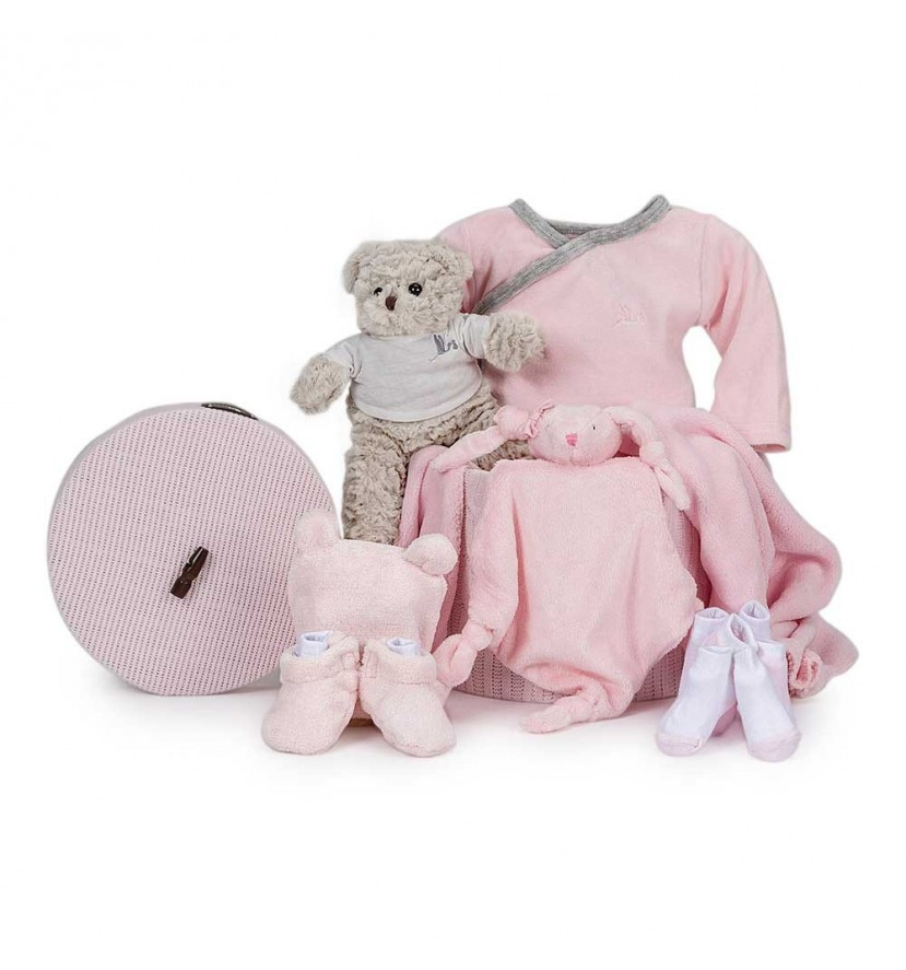 Velour Essential Baby Gift Basket Pink