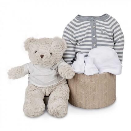 Grey Stripes Soft Essential Baby Hamper