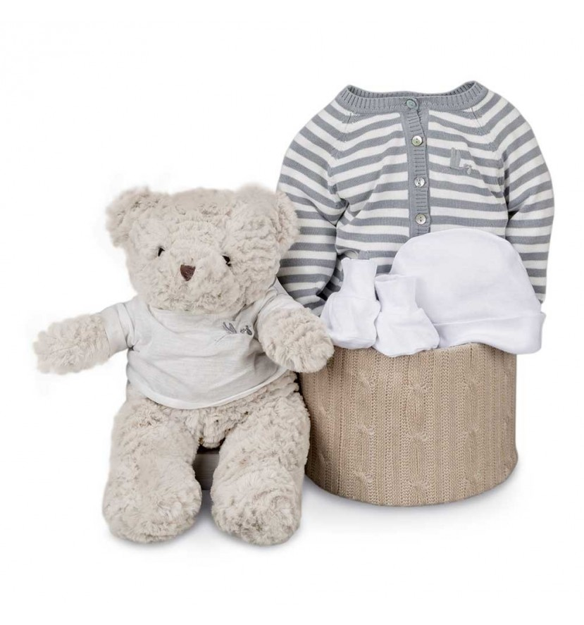 Grey Stripes Soft Essential Baby Hamper