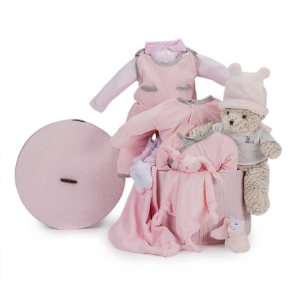 Velour Complete Baby Gift Basket Pink