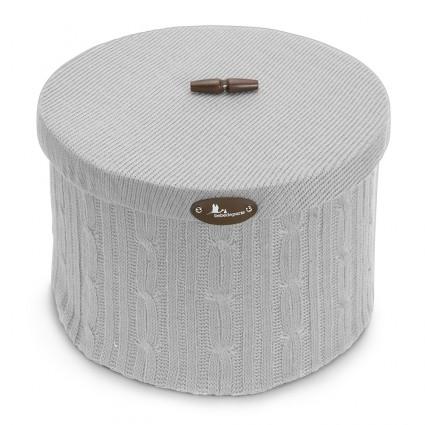 Round Wool Basket Beige L