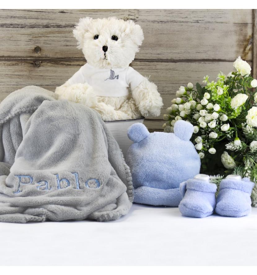 Embroidered blanket teddy bear hamper with hat and socks set blue