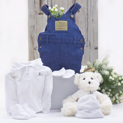 Baby outfit with teddy bear gift white