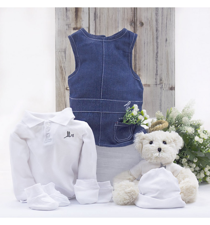 Baby girl outfit with teddy bear hamper white