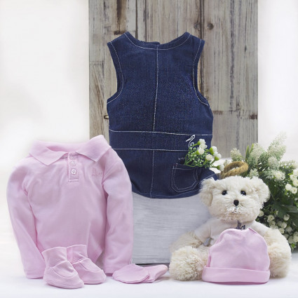 Baby girl outfit with teddy bear hamper pink