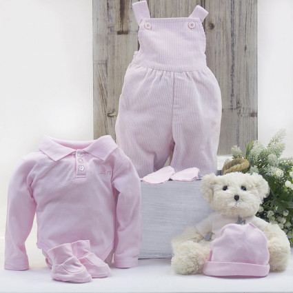 Polo shirt and dungarees baby outfit with teddy bear pink
