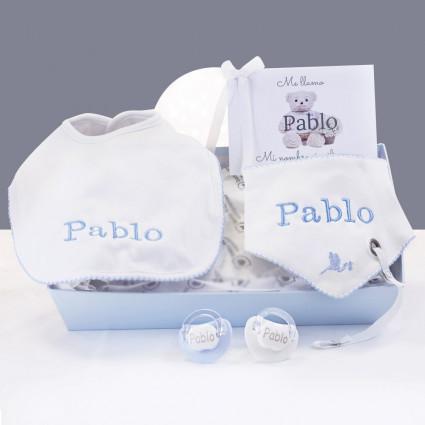 Personalised bibs and dummies gift set blu
