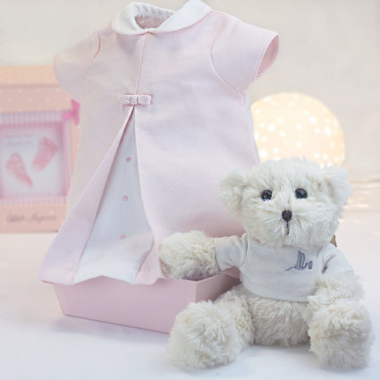 Pink baby dress 3-6 months with teddy bear