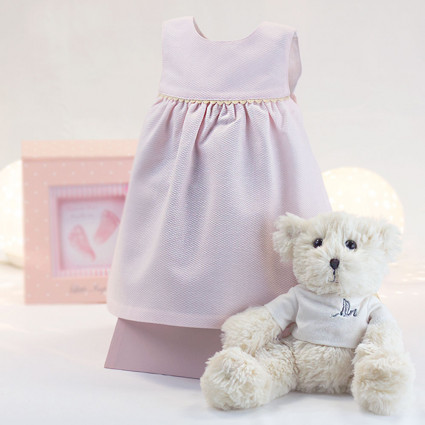 Pink baby dress 6-12 months with teddy bear