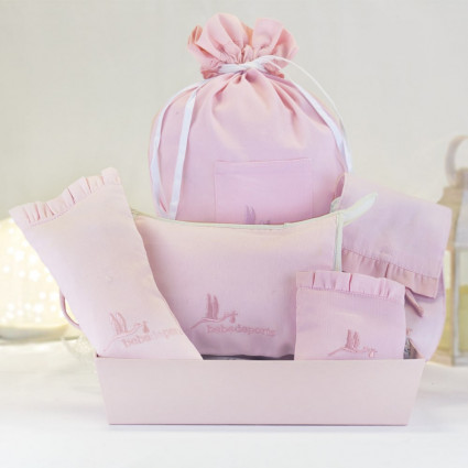 Gift set of baby accessory cases pink