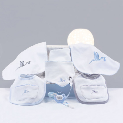 Embroidered bib gift set with personalised dummy grey