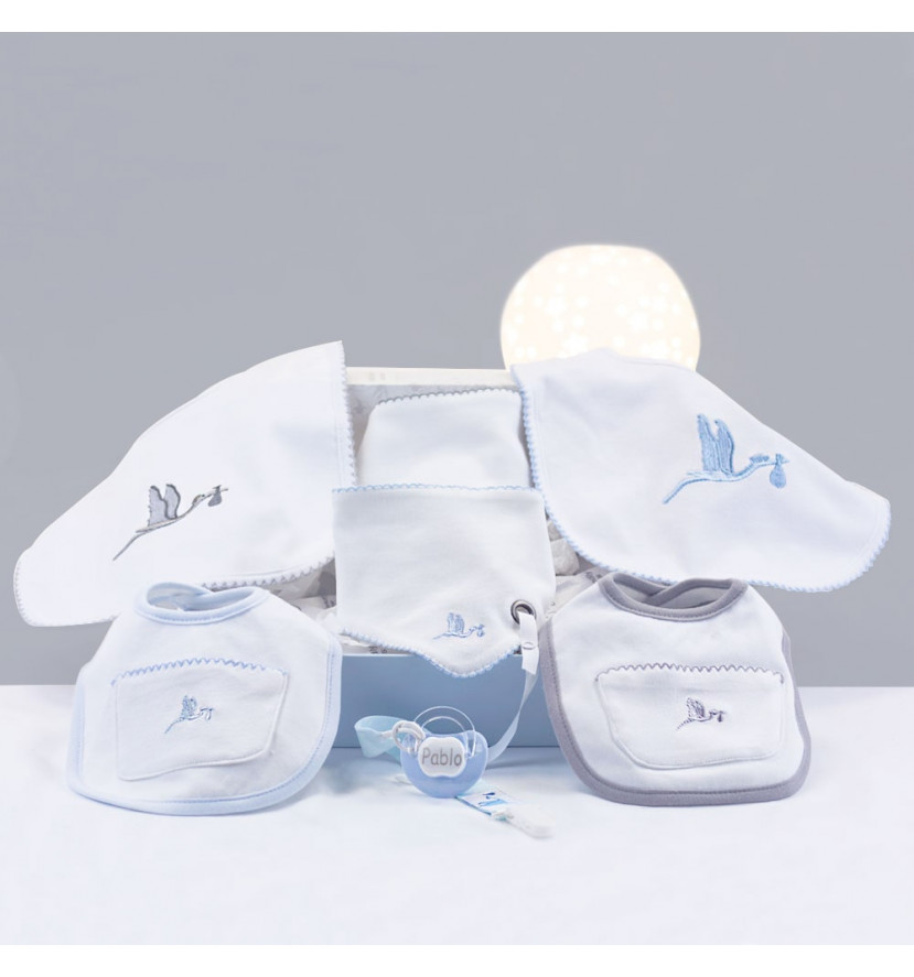 Embroidered bib gift set with personalised dummy blue