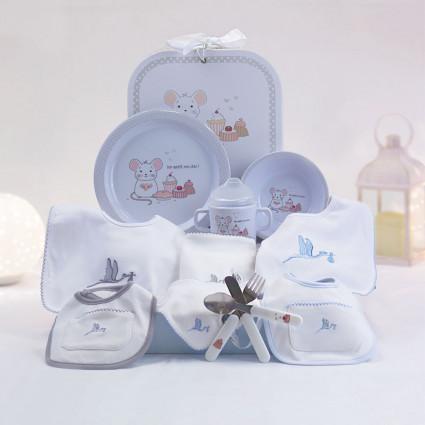 Children's tableware gift and newborn bib set grey