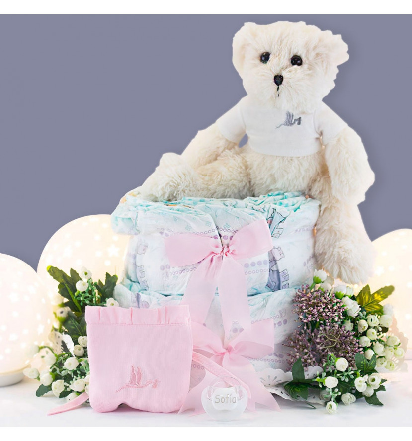 Nappy cake with personalised dummy, case and teddy bear pink