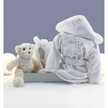 Embroidered dressing gown, muslin and teddy bear set pink