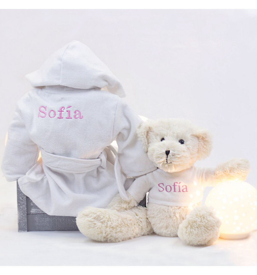 Embroidered dressing gown and teddy bear set pink