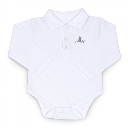 Baby Polo Bodysuit  White