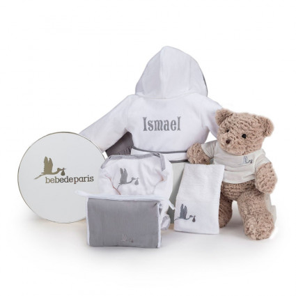 My Embroidered Bathrobe Baby Hamper grey