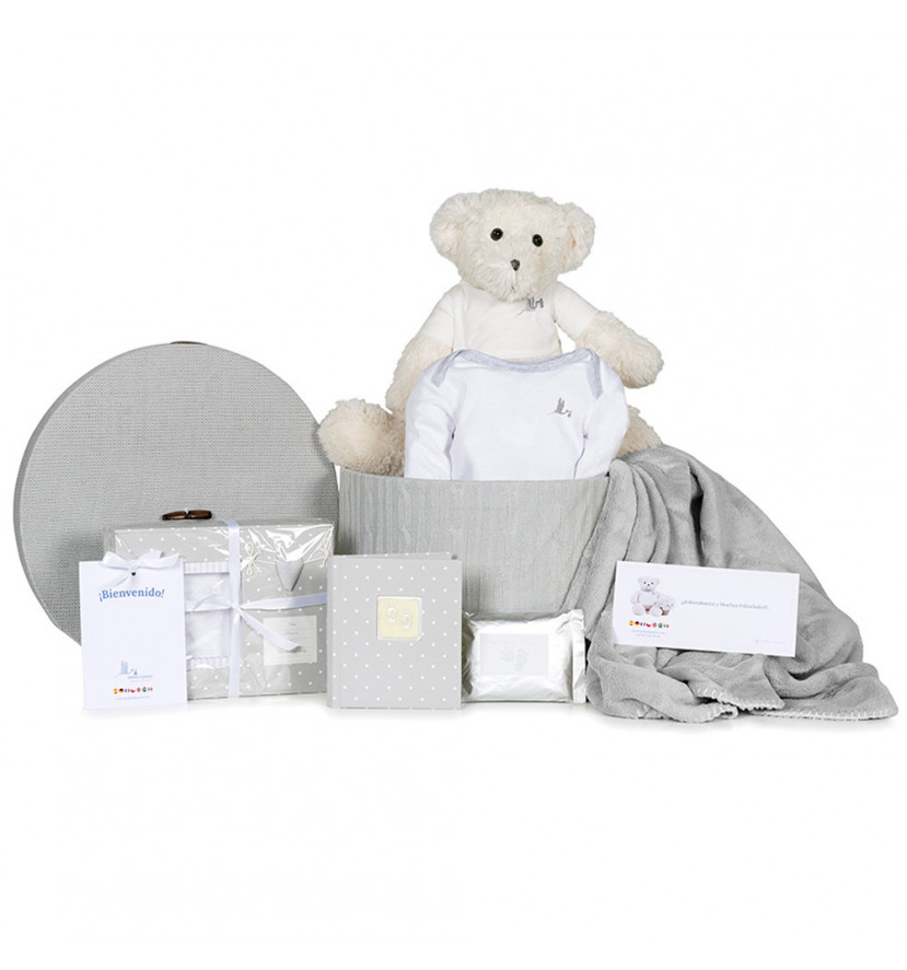 Basket Footprint Set, Body Blanket and Teddy Bear