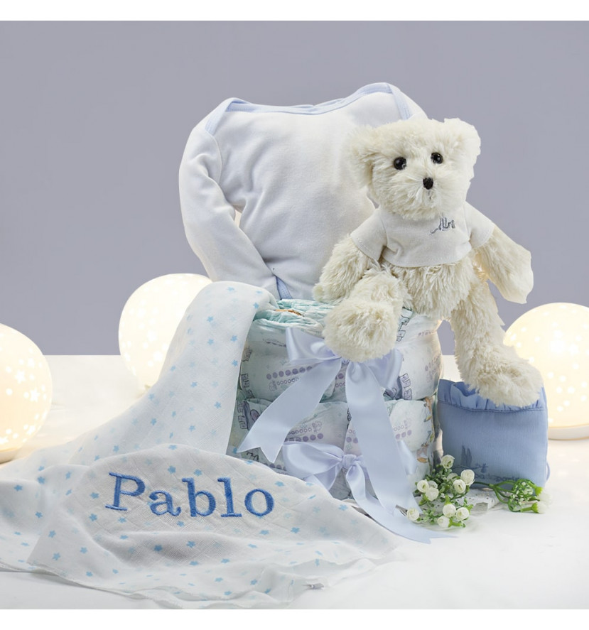 Nappy cake with personalised muslin, case and teddy bear