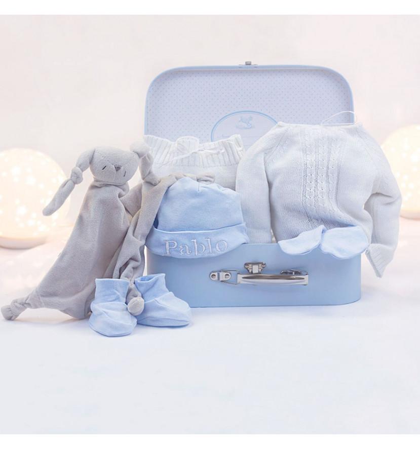 Basket Set Perlé Doudou Customizable Mitten and Socks blue