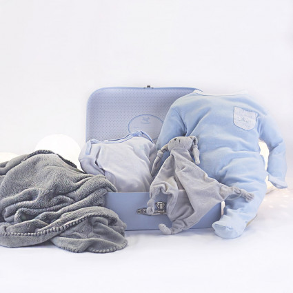Basket Personalized Blanket Pajamas and bodysuit for Newborn grey