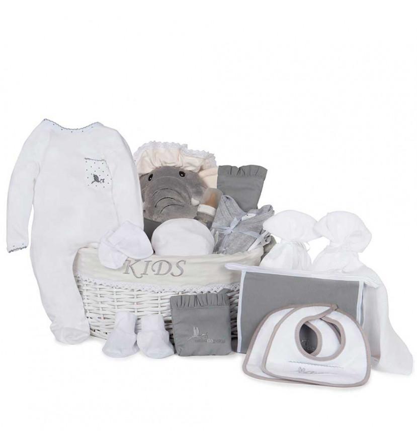 Post Hospital Complete Baby Gift Basket grey