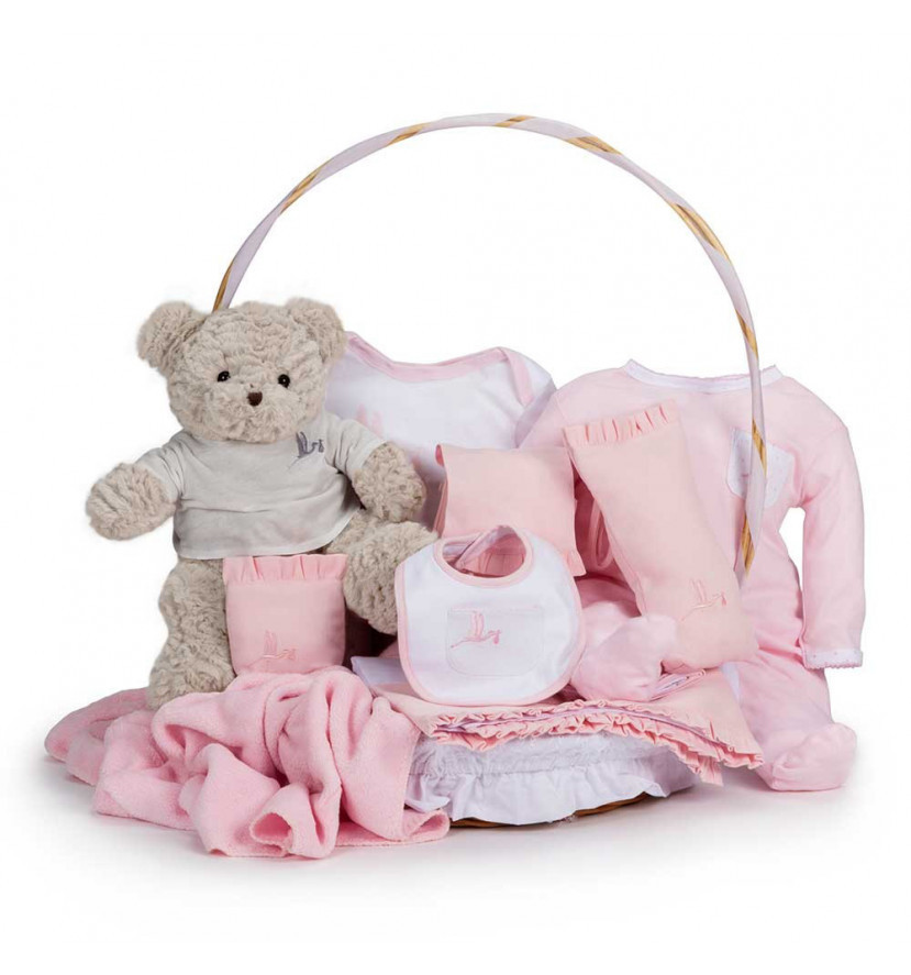 Classic Baby Gift Basket Pink