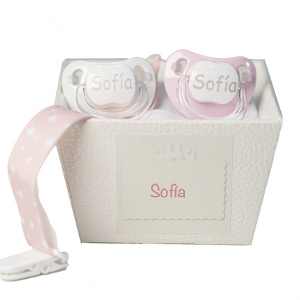 Pack of two personalised dummies with dummy clip pink