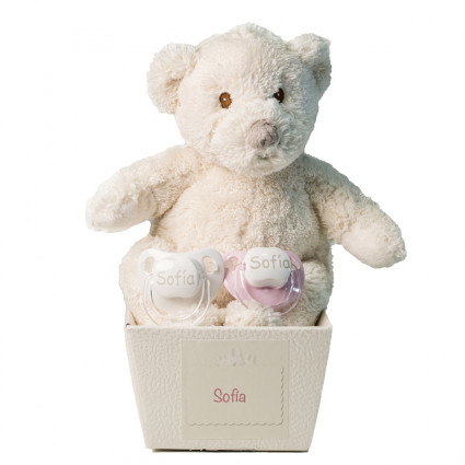Pack of two personalised dummies and teddy bear pink