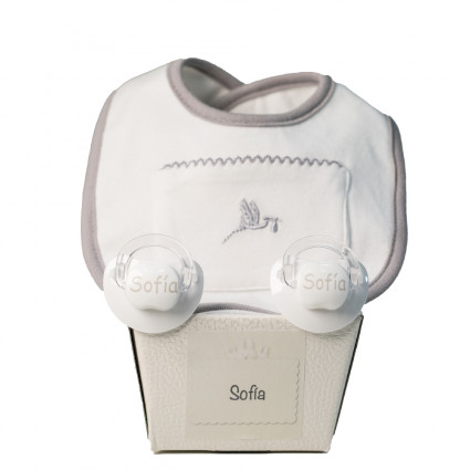 Pack of two customized dummies and bib grey