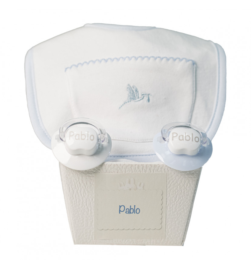 Pack of two customized dummies and bib blue