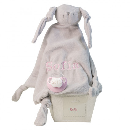 Comforter and personalised dummy with baby's name pink