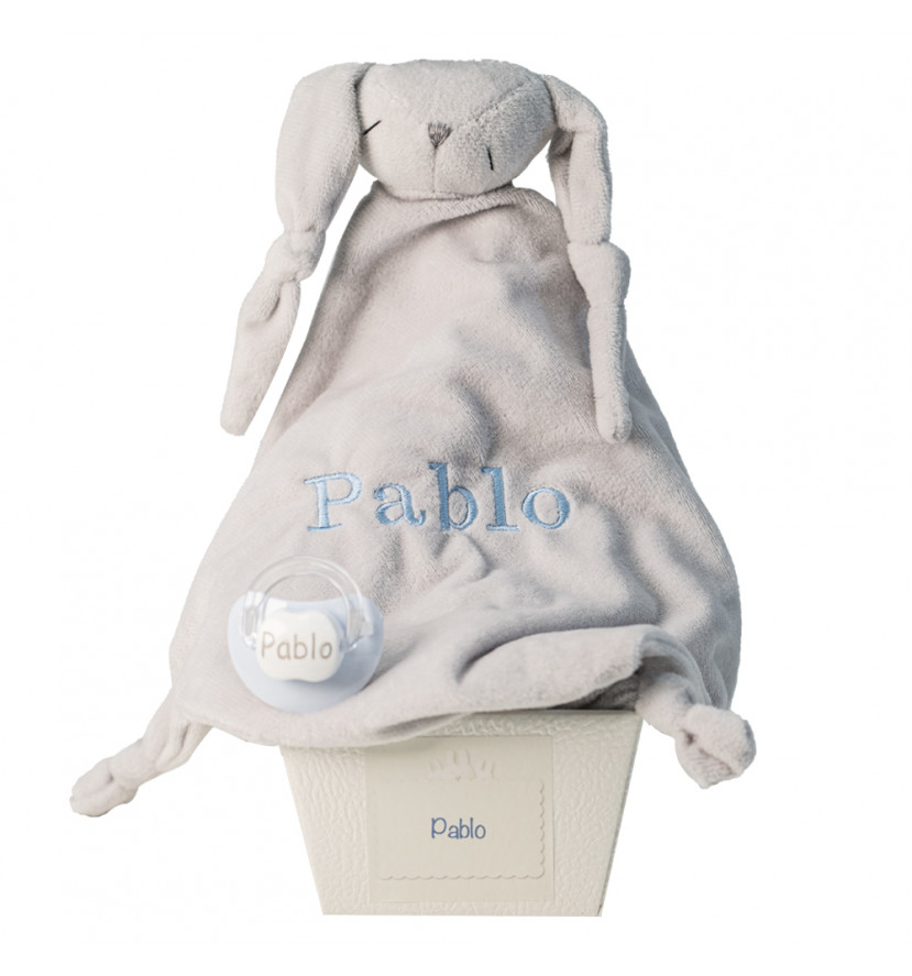 Comforter and personalised dummy with baby's name blue
