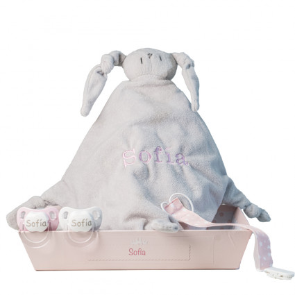 Pack of comforter 2 personalised dummies and dummy clip pink