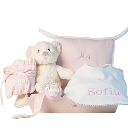 Hamper with bib and personalised dummy with accessories for newborn pink