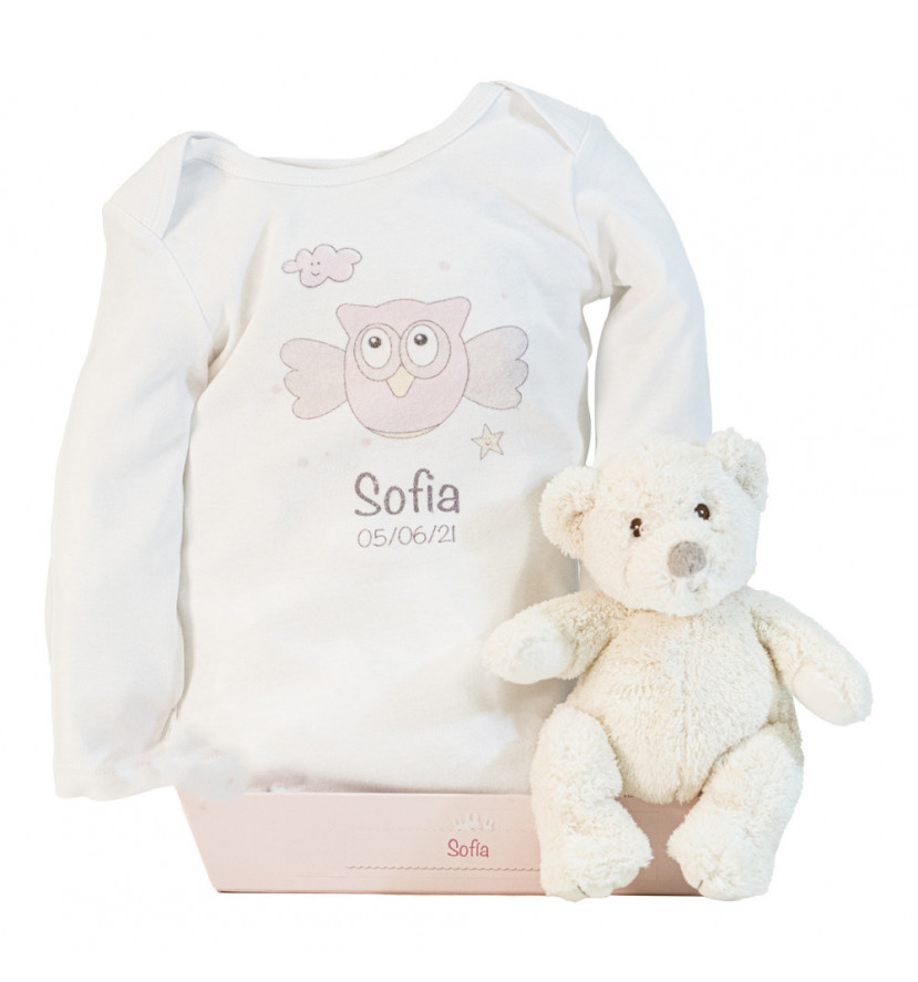 Teddy bear and personalised bodysuit with baby's name pink