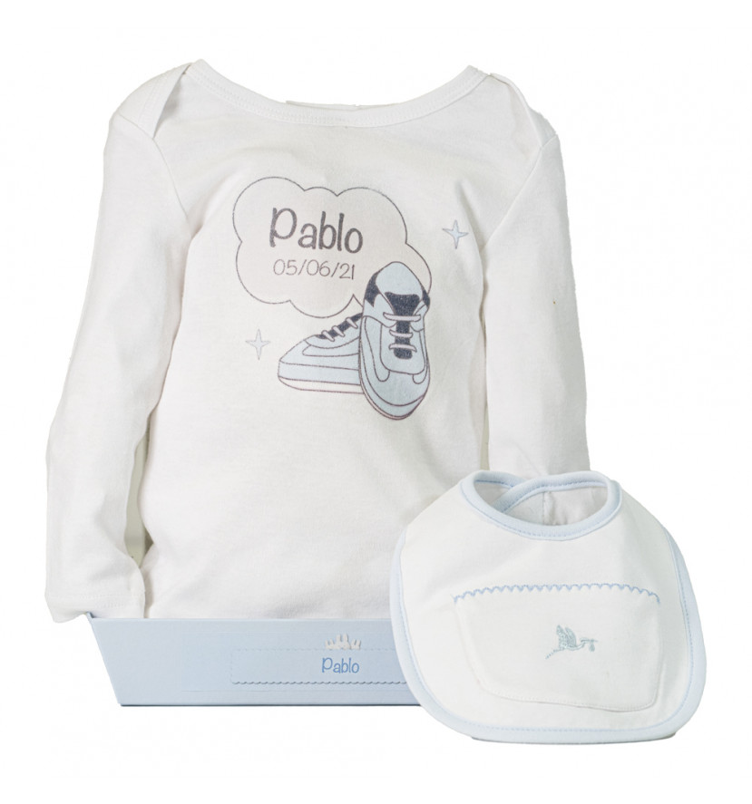 Bib with front pocket and personalised bodysuit blue