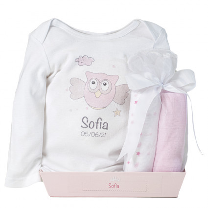 Muslin cloths and personalised bodysuit set pink