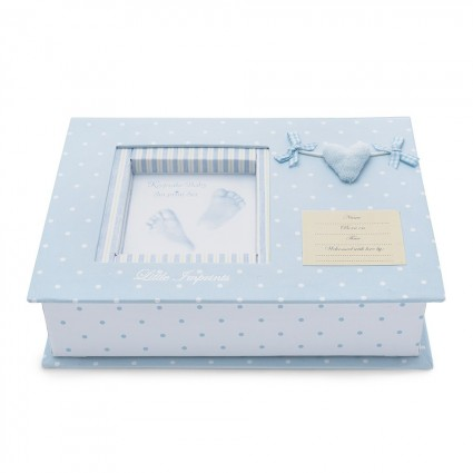 Blue Heart Footprints Baby Gift Set