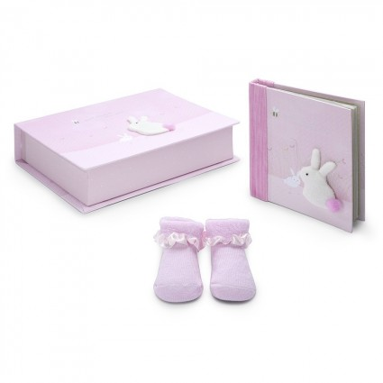 Pink Rabbit Baby Gift Set