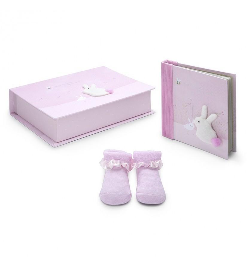 Pink Rabbit Baby Gift Set